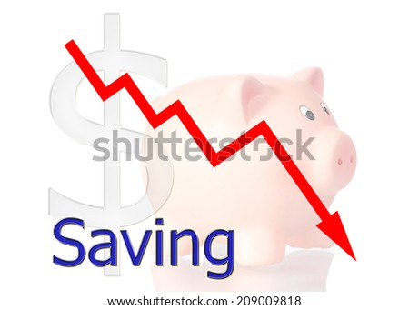 red diagram downwards saving with piggy bank dollar symbol