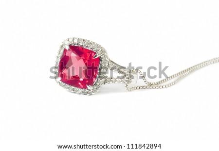 red diamond necklace closeup - stock photo