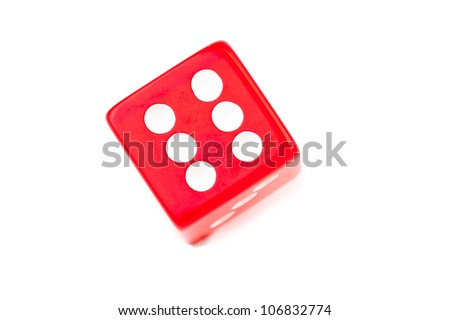 Red dice against a white background - stock photo