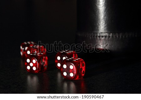 Red Dice  - Dice with  black leather dice cup.