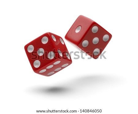 Red Dice in Air Rolling with Shadows Isolated on White Background. - stock photo
