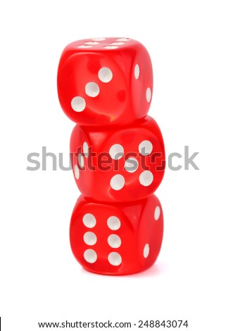 Red dice isolated on white - stock photo