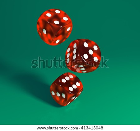 Red dice on green background. 3D image