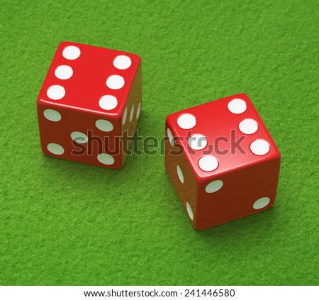 Red dice on green cloth - stock photo
