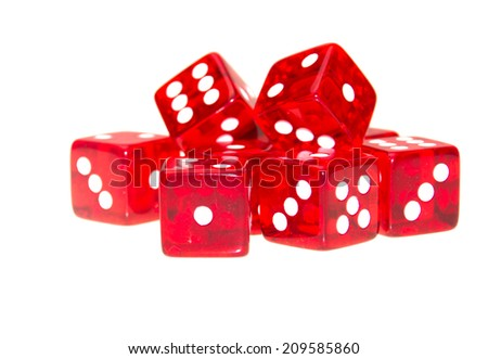 red dice scattered with different numbers with copy space - stock photo