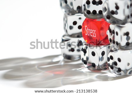 Red Dice Standing out from the crowd, Stress concept. - stock photo
