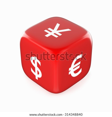 Red Dice with Euro, Dollar and Yen / Yuan Symbol - stock photo