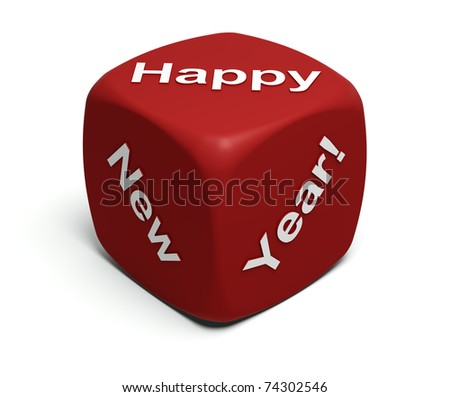 Red Dice with Happy New Year greeting