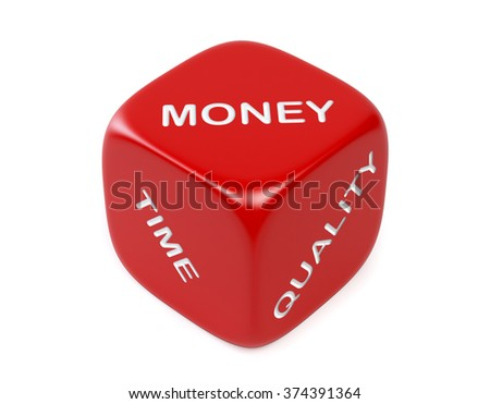 Red dice with money, time and quality words. Isolated  on white background. Clipping path is included. - stock photo