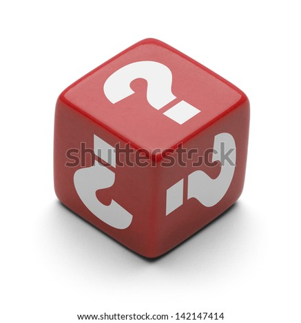 Red Dice With Question Marks Isolated on White Background. - stock photo