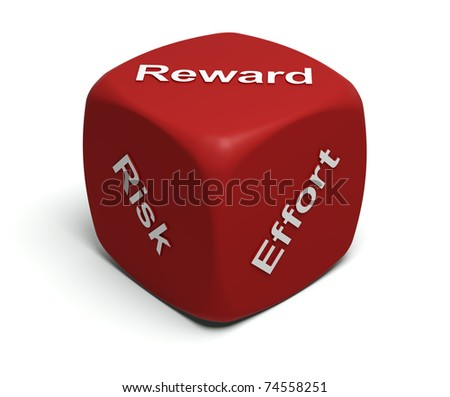 Red Dice with words Risk, Effort, Reward on faces - stock photo