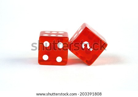 red dices isolated on white background - stock photo