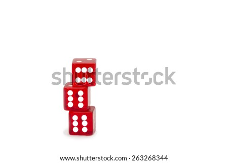 Red dices, number six showed. White background. - stock photo
