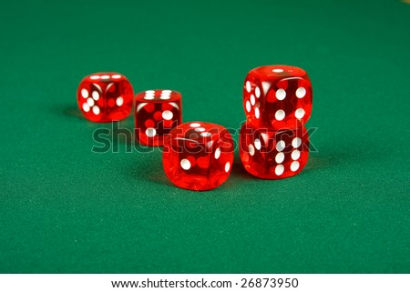 Red dices on casino table