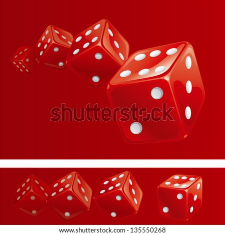 Red dices. Red background and banner of red casino dices in different sides.  There are no meshes in this image. - stock photo