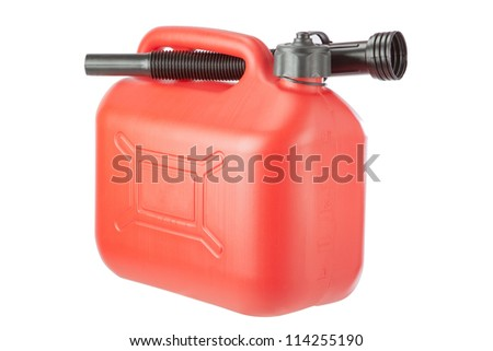 Red Diesel Canister jerrycan. On a white background. - stock photo