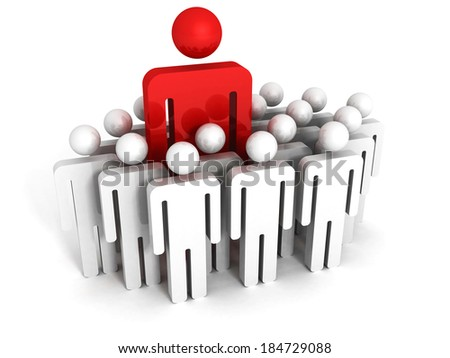 red different 3d man tanding out from the crowd. leadership teamwork concept 3d render illustration - stock photo