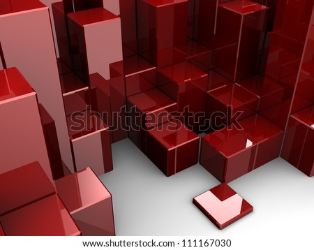 Red different digital cubes, 3d idea - stock photo