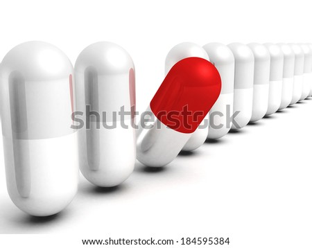 red different good choice medical pill. healthcare concept 3d render illustration - stock photo