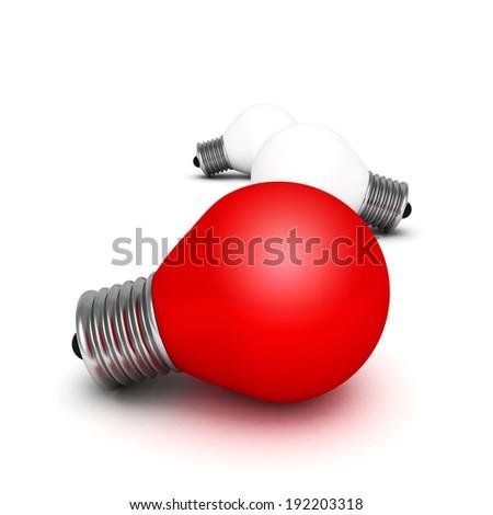 Red different idea light bulb. concept 3d render illustration - stock photo