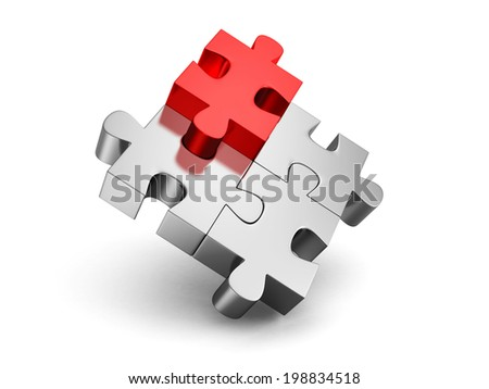 red different individual jigsaw puzzle. 3d render illustration - stock photo