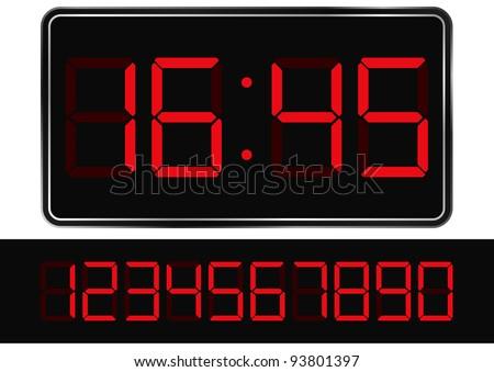 Red digital clock - stock photo