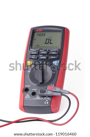 Red digital multimeter isolated on white background - stock photo