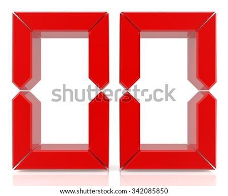 Red digital numbers 00 on white background 3d rendering - stock photo