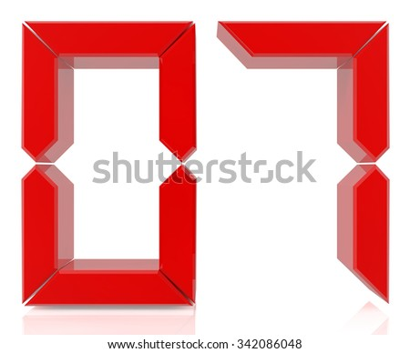 Red digital numbers 07 on white background 3d rendering - stock photo