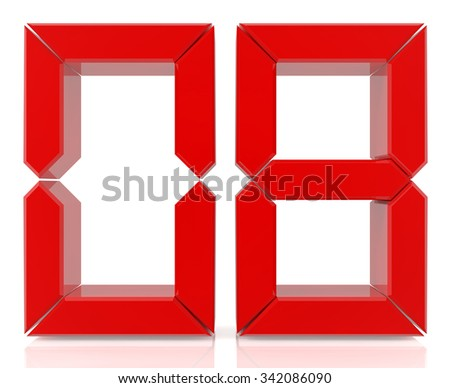Red digital numbers 08 on white background 3d rendering - stock photo