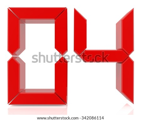 Red digital numbers 04 on white background 3d rendering - stock photo