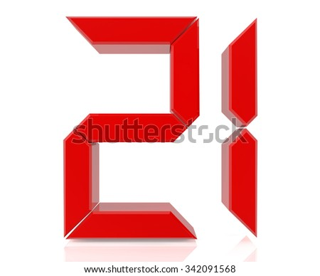 Red digital numbers 21 on white background 3d rendering - stock photo