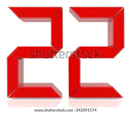 Red digital numbers 22 on white background 3d rendering - stock photo