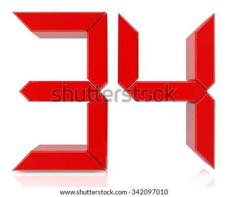 Red digital numbers 34 on white background 3d rendering - stock photo