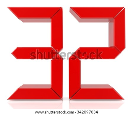 Red digital numbers 32 on white background 3d rendering - stock photo