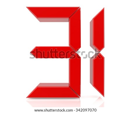 Red digital numbers 31 on white background 3d rendering - stock photo