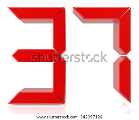 Red digital numbers 37 on white background 3d rendering - stock photo