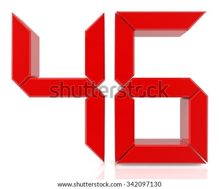 Red digital numbers 46 on white background 3d rendering - stock photo