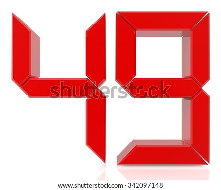 Red digital numbers 49 on white background 3d rendering - stock photo