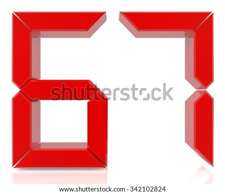 Red digital numbers 67 on white background 3d rendering - stock photo