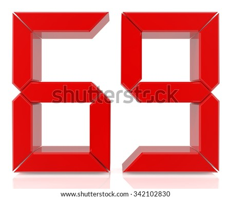 Red digital numbers 69 on white background 3d rendering - stock photo