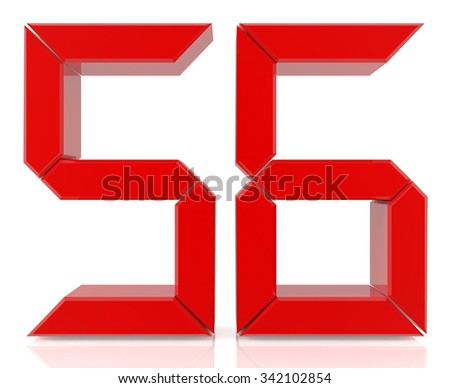Red digital numbers 56 on white background 3d rendering - stock photo
