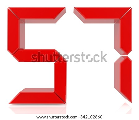 Red digital numbers 57 on white background 3d rendering - stock photo