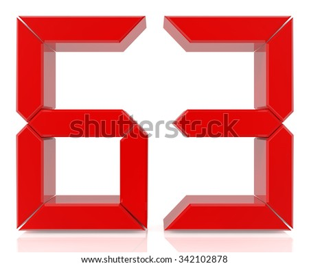 Red digital numbers 63 on white background 3d rendering - stock photo
