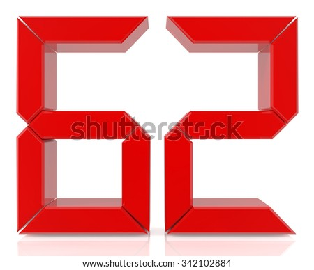 Red digital numbers 62 on white background 3d rendering - stock photo