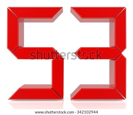 Red digital numbers 53 on white background 3d rendering - stock photo