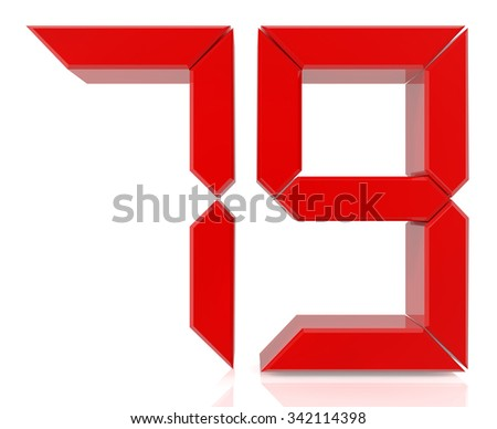 Red digital numbers 79 on white background 3d rendering - stock photo