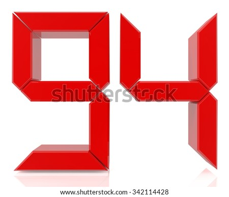 Red digital numbers 94 on white background 3d rendering - stock photo