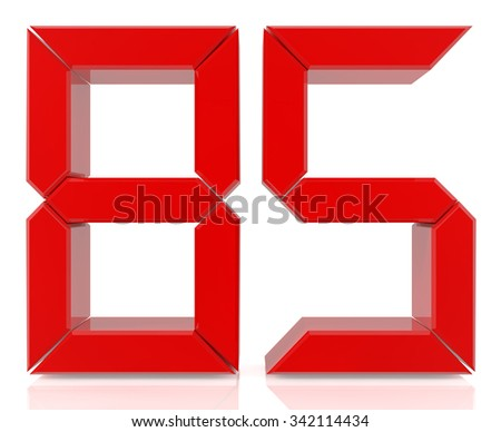 Red digital numbers 85 on white background 3d rendering - stock photo