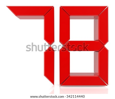 Red digital numbers 78 on white background 3d rendering - stock photo